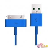 Дата-кабель Smartbuy USB - 30-pin для Apple, цветные, длина 1,2 м, голубой (iK-412c blue)